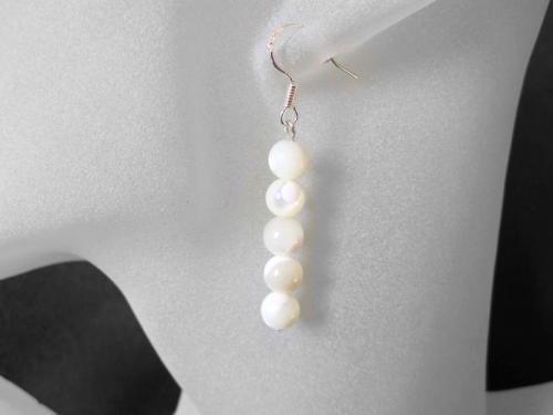 Ivory Cream Mother Of Pearl Stack Sterling Silver Earrings